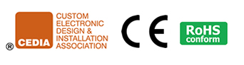 CEDIA, CE  and RoHS Logos