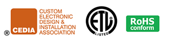 CEDIA, ETL Listed and RoHS Logos