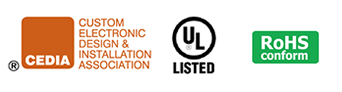 CEDIA, UL Listed, and RoHS Logos