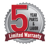 5 Year Parts & Labor Limited Warranty